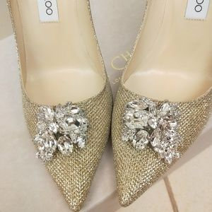 42b8e42247c Jimmy Choo Shoes - Jimmy Choo Gold Mamey Glitter Crystal pumps